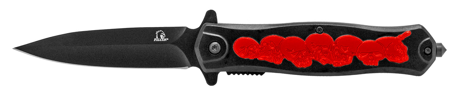 4.5 in Death Skull Folding Knife - Black and Red