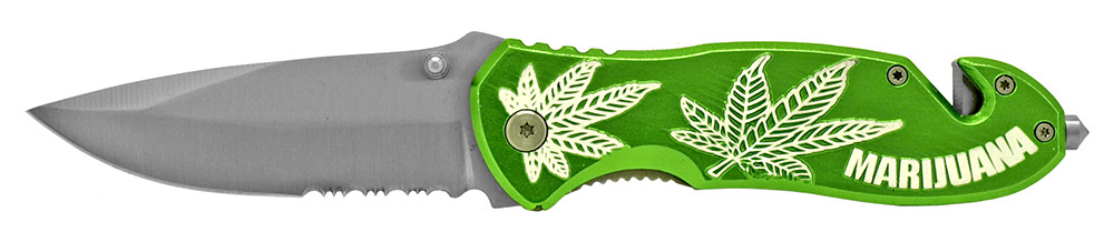 4.5 in Spring Assisted Leaf Folding Knife - Green