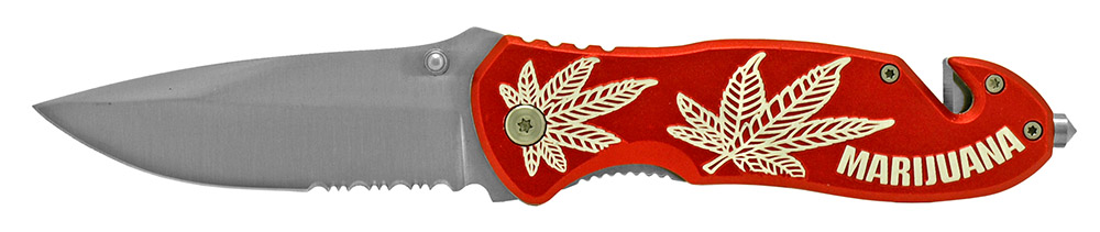 4.5 in Spring Assisted Leaf Folding Knife - Red