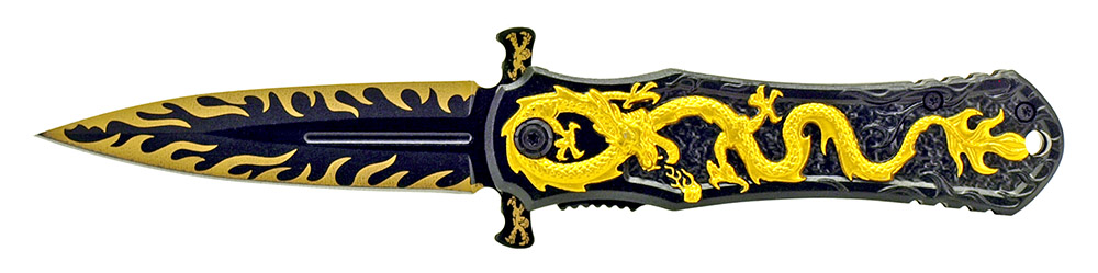 4.5 in Dragon Warrior Stiletto Style Knife - Golden