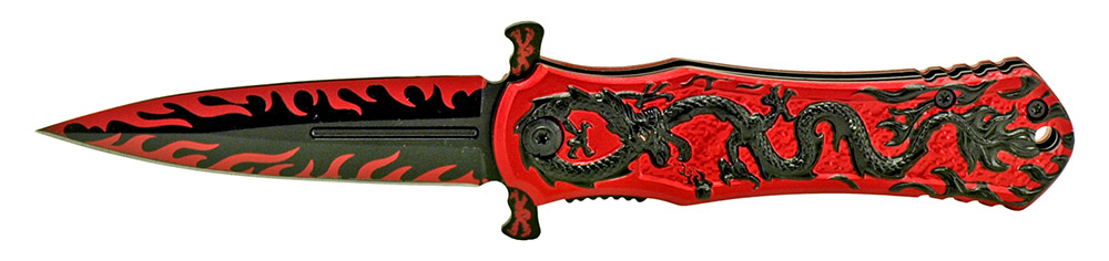 4.5 in Dragon Warrior Stiletto Style Knife - Black and Red