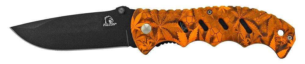 4.75 in Woodsman Finger Grip Pocket Knife - Orange Leaf Camo