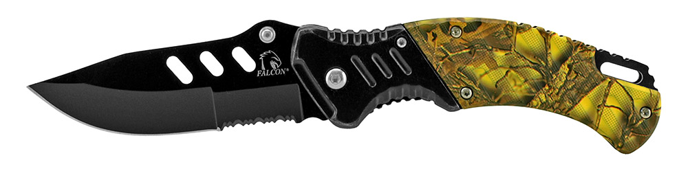 4.63 in Spring Assisted Folding Knife - Yellow Camo