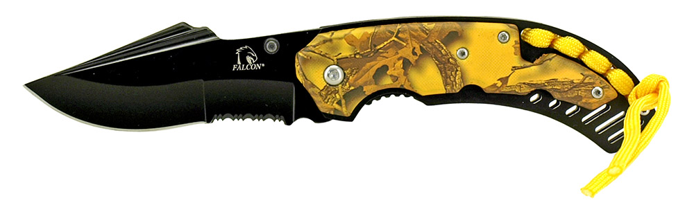 4.5 in Spring Assisted Folding Knife - Yellow Camo
