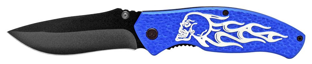 4.5 in Spring Assisted Burning Skull Rider Knife - Blue