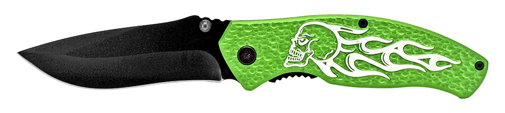 4.5 in Spring Assisted Burning Skull Rider Knife - Green