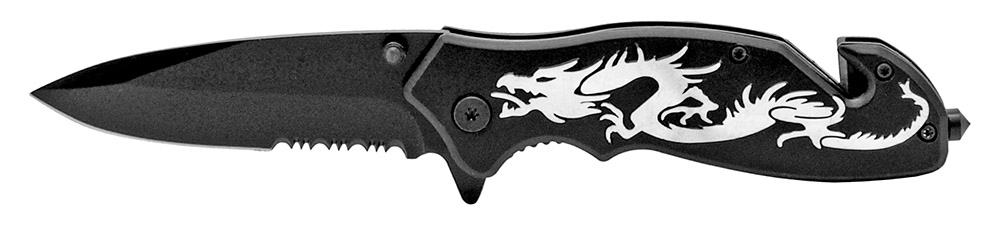 4.5 in Dragon Tactical Folding Knife - Black