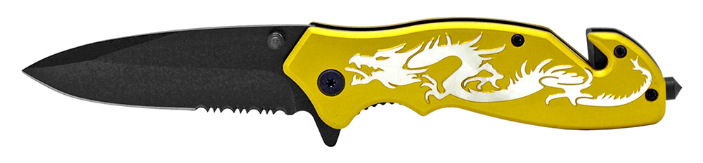 4.5 in Dragon Tactical Folding Knife - Gold