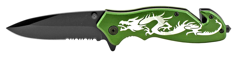 4.5 in Dragon Tactical Folding Knife - Green
