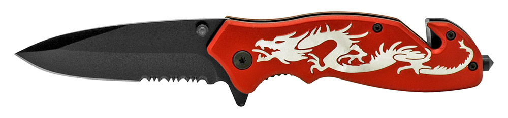 4.5 in Dragon Tactical Folding Knife - Red