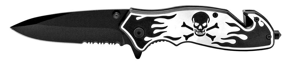 4.5 in Skull and Bones Tactical Folding Knife - Black