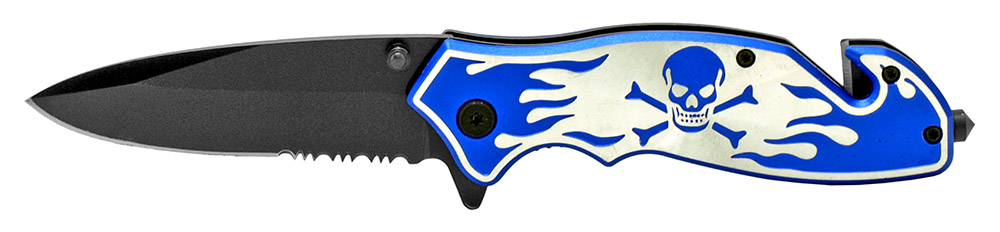 4.5 in Skull and Bones Tactical Folding Knife - Blue