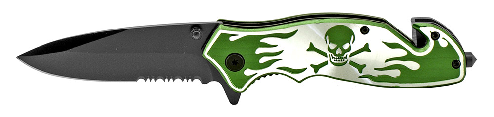 4.5 in Skull and Bones Tactical Folding Knife - Green