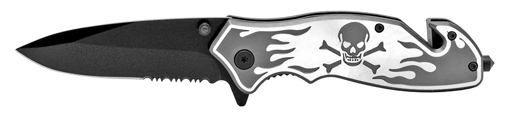 4.5 in Skull and Bones Tactical Folding Knife - Grey