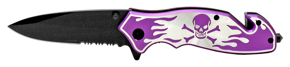 4.5 in Skull and Bones Tactical Folding Knife - Purple