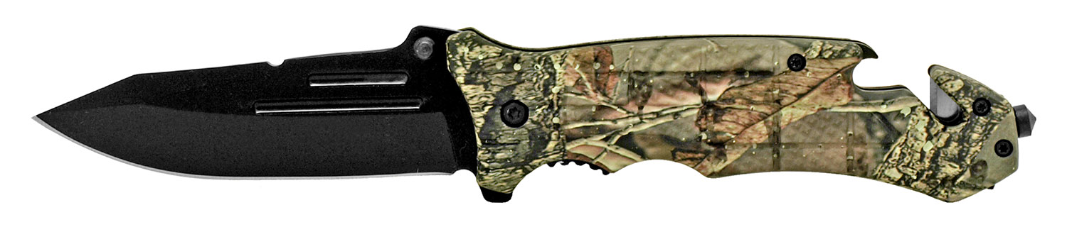 5 in Folding Rescue Knife - Woodland Camo