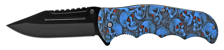 4.75 in Hunter's Pocket Knife - Blue Skull