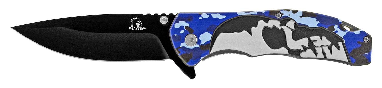 5 in Spring Assisted Skull Knife - Blue