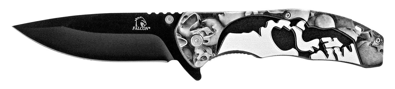5 in Spring Assisted Skull Knife - Grey