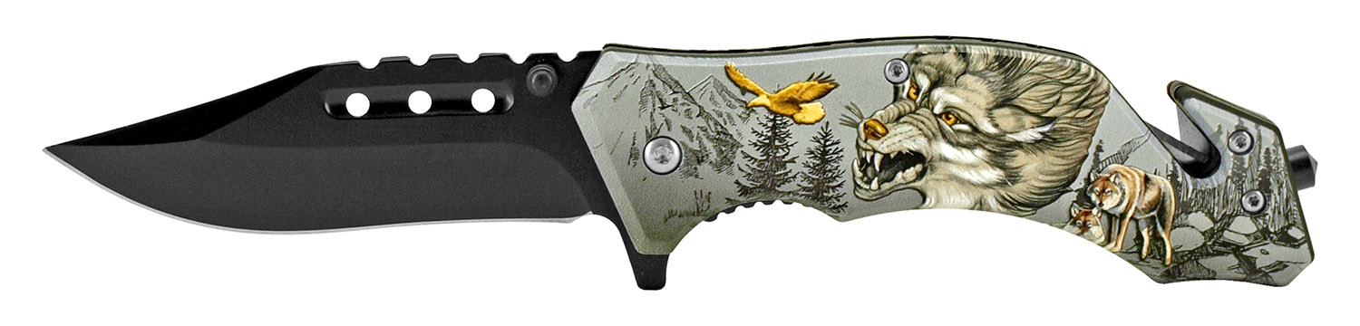 4.75 in Camping Pocket Knife - Wolf