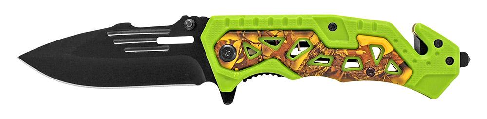 4.5 in Folding Rescue Knife - Green Camo