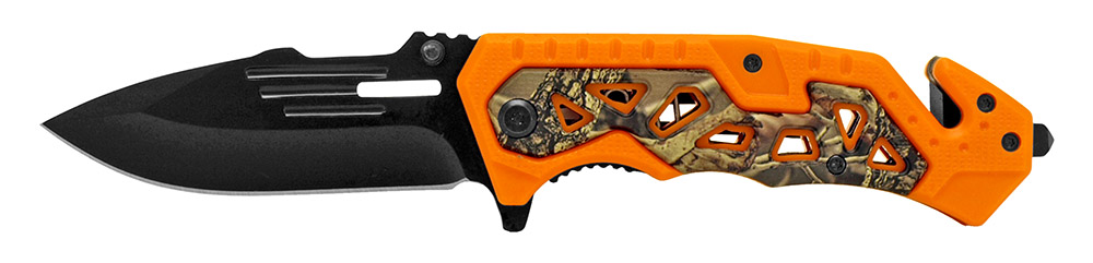 4.5 in Folding Rescue Knife - Orange Camo