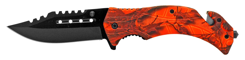 4.75 in Tactical Hunting Knife - Orange Camo