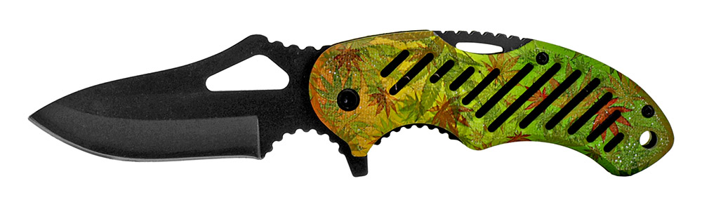 4.5 in Spring Assisted Knife - Green Leaf Camo