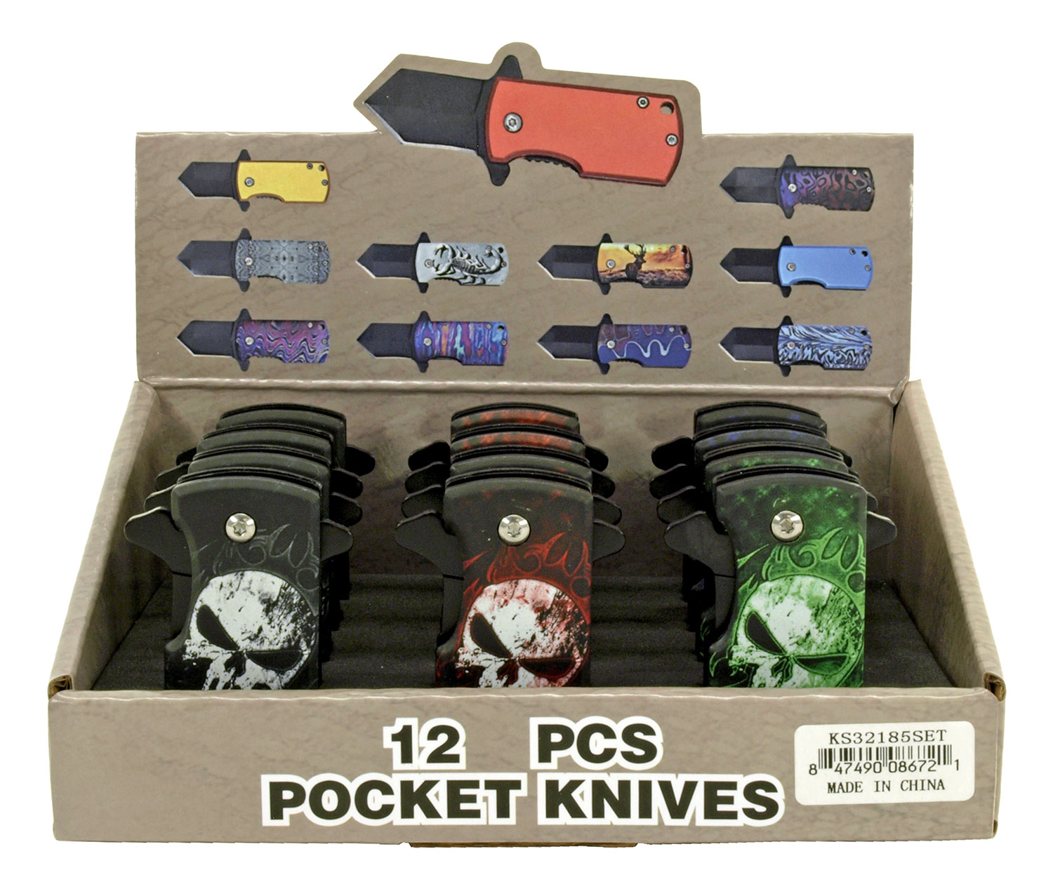 12 - pc. Folding Knife Countertop Display - Skull