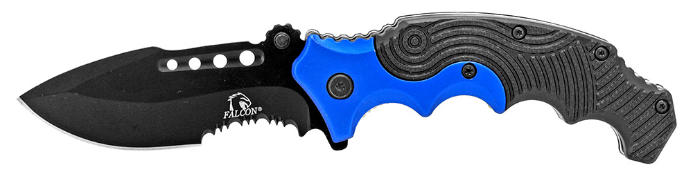 4.75 in Spring Assisted Finger Grip Folding Knife - Blue