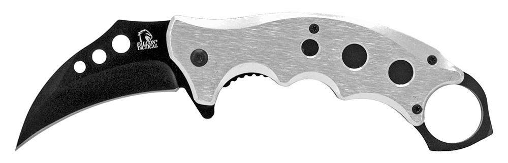 5 in Hook Blade Folding Knife - Silver