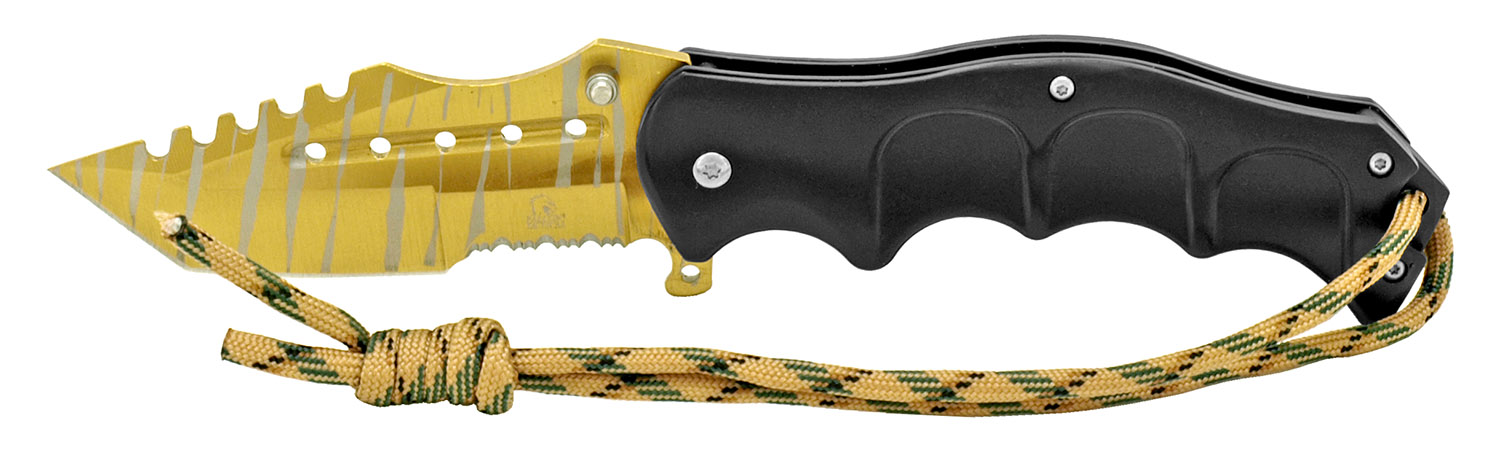 4.75 in Stainless Steel Folding Knife - Gold and Black