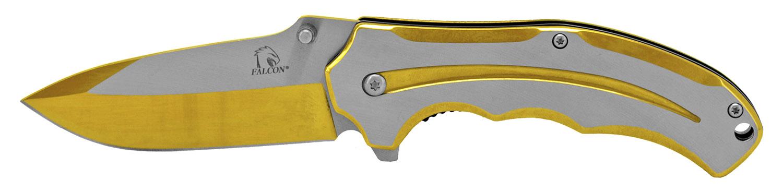 4.5 in Stylized Stainless Steel Folding Knife - Golden