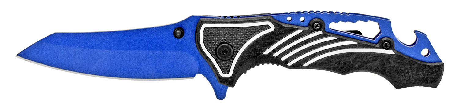 4.5 in Spring Assisted Folding Knife - Black on Blue
