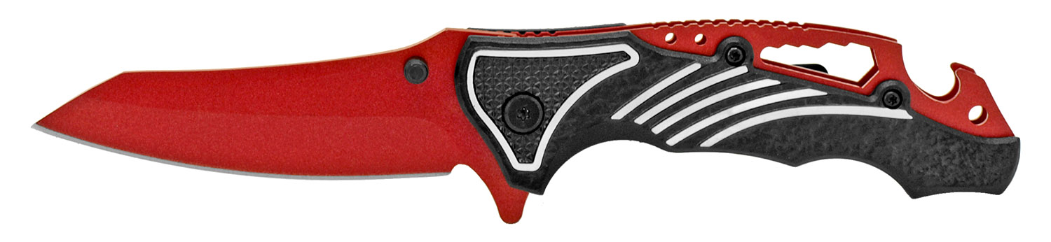 4.5 in Spring Assisted Folding Knife - Black on Red