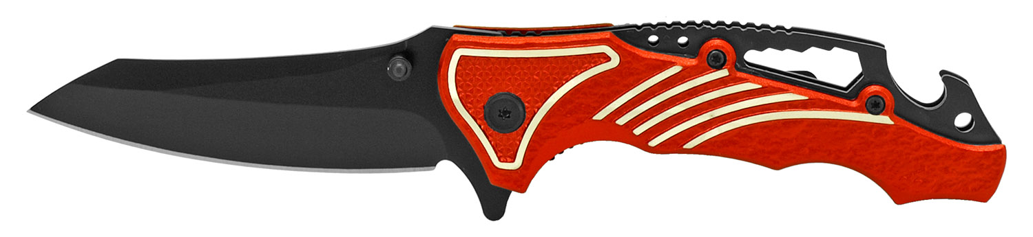 4.5 in Spring Assisted Folding Knife - Red on Black
