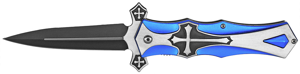 5 in Spring Assist Cross Folding Knife - Blue