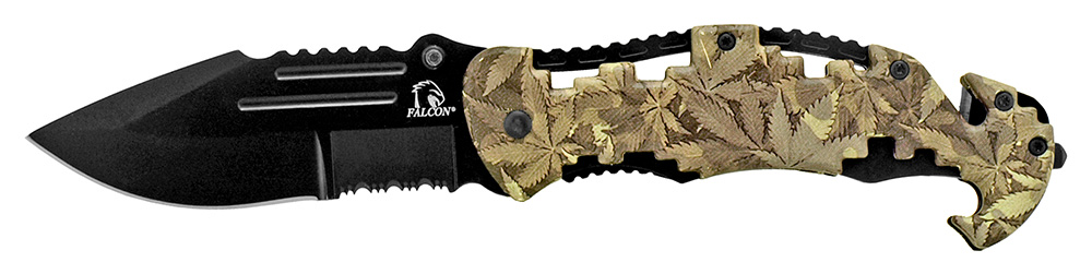 4.75 in Tactical Rescue Folding Knife - Leaf Camo