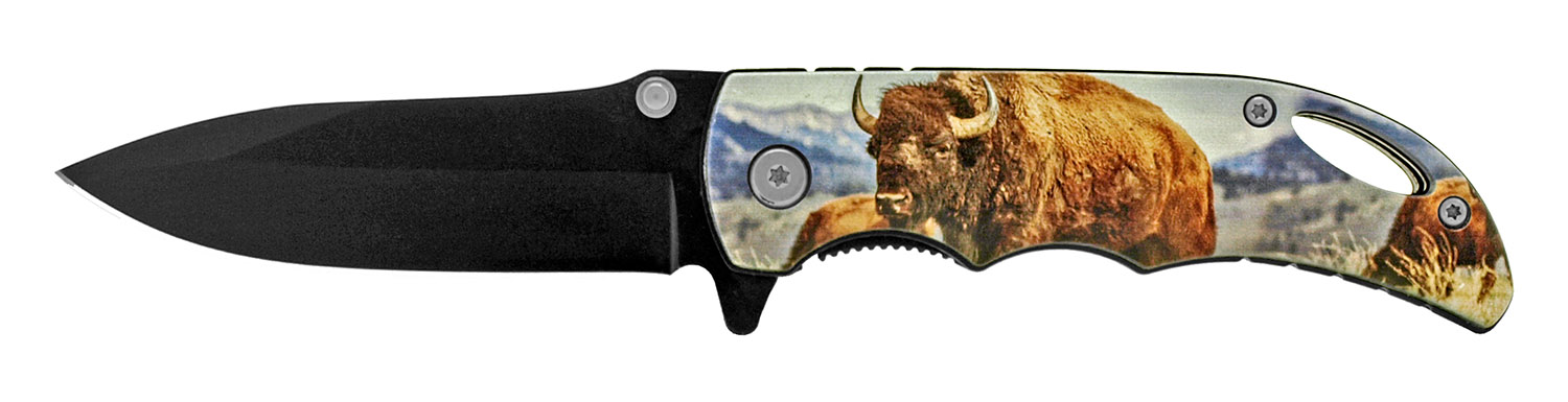 4 in Spring Assisted Pocket Knife - Buffalo