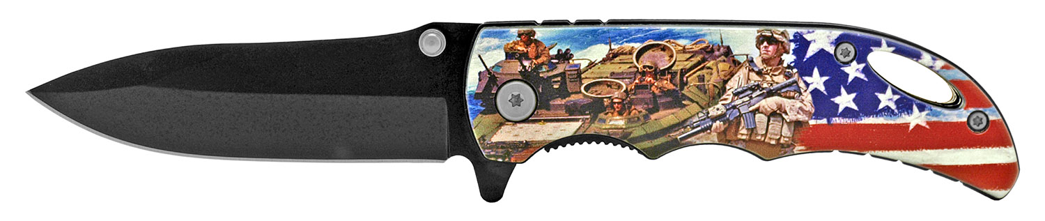 4 in Spring Assisted Pocket Knife - Marines