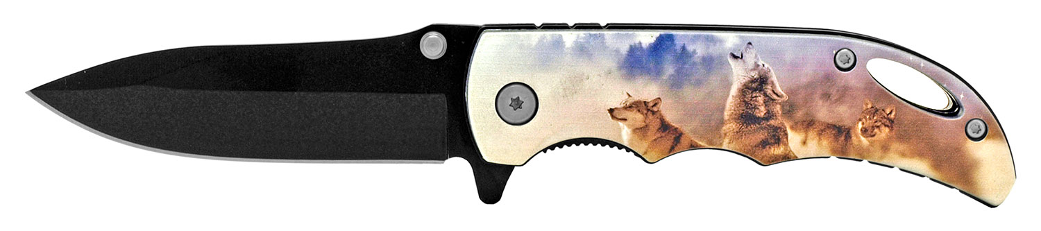 4 in Spring Assisted Pocket Knife - Wolf