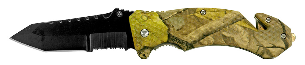 4.75 in Spring Assisted Folding Knife - Woodland Camo