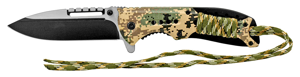 4.75 in Spring Assisted Paracord Folding Knife - Digital Camo