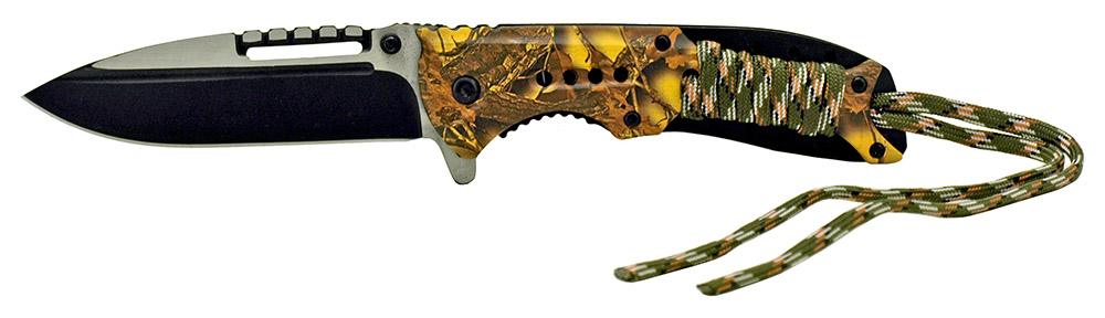 4.75 in Spring Assisted Paracord Folding Knife - Yellow Camo