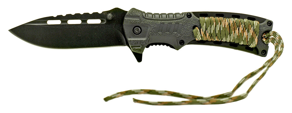 4.75 in Spring Assisted Paracord Sport Knife - Black