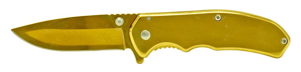3.75 in Spring Assisted Stainless Steel Folding Knife - Gold
