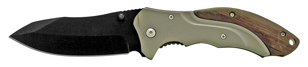 4.75 in Spring Assisted Stainless Steel Folding Knife - Gun Metal