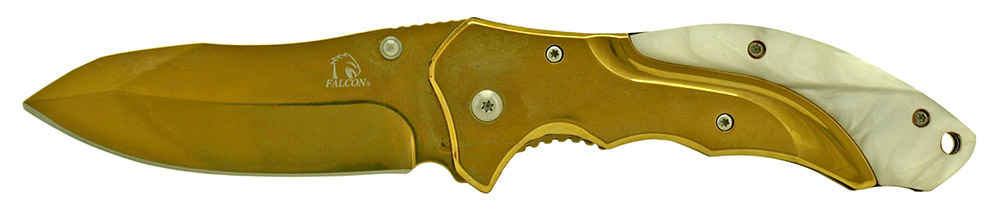 4.75 in Spring Assisted Stainless Steel Folding Knife - Golden
