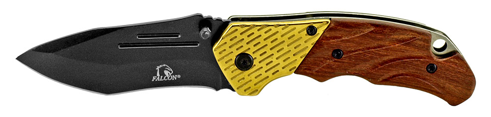 4.5 in Spring Assisted Folding Knife - Gold & Wood