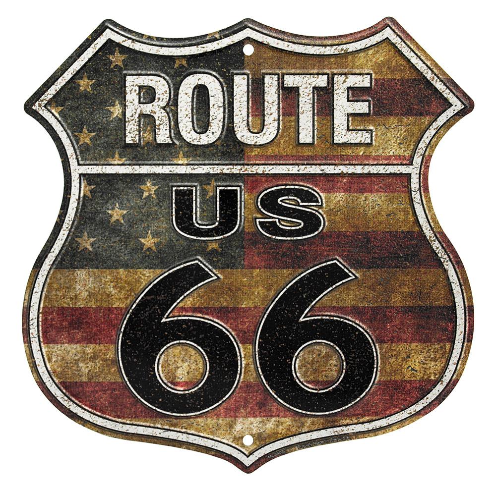 Route 66 USA Flag Tin Sign